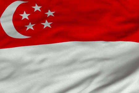 singaporean flag: Detailed 3D rendering closeup of the flag of Singapore.  Flag has a detailed realistic fabric texture and an accurate design and colors. Editorial