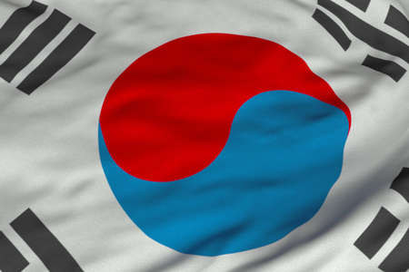 Detailed 3D rendering closeup of the flag of South Korea.  Flag has a detailed realistic fabric texture and an accurate design and colors. photo