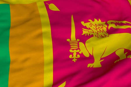 Detailed 3D rendering closeup of the flag of Sri Lanka.  Flag has a detailed realistic fabric texture and an accurate design and colors.