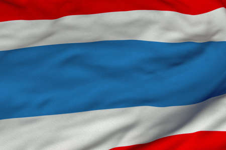 Detailed 3D rendering closeup of the flag of Thailand.  Flag has a detailed realistic fabric texture and an accurate design and colors. photo