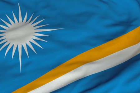 Detailed 3D rendering closeup of the flag of Marshall Islands.  Flag has a detailed realistic fabric texture and an accurate design and colors. Stok Fotoğraf