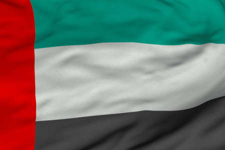 Detailed 3D rendering closeup of the flag of the United Arab Emirates.  Flag has a detailed realistic fabric texture and an accurate design and colors.