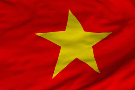 Detailed 3D rendering closeup of the flag of Vietnam.  Flag has a detailed realistic fabric texture and an accurate design and colors.