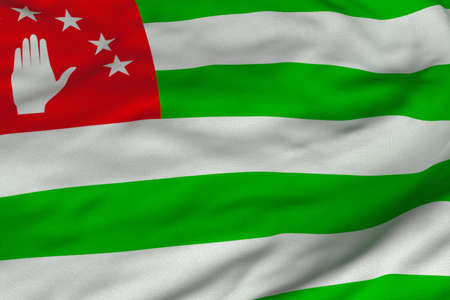 Detailed 3D rendering closeup of the flag of Abkhazia.  Flag has a detailed realistic fabric texture and an accurate design and colors.