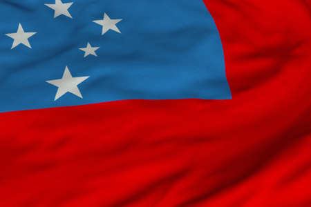 Detailed 3D rendering closeup of the flag of Samoa.  Flag has a detailed realistic fabric texture and an accurate design and colors.