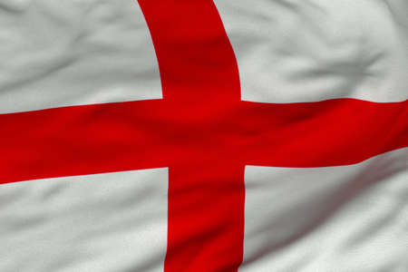 Detailed 3D rendering closeup of the flag of England.  Flag has a detailed realistic fabric texture and an accurate design and colors. Imagens - 9959533