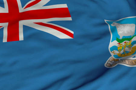 falkland: Detailed 3D rendering closeup of the flag of Falkland Islands.  Flag has a detailed realistic fabric texture and an accurate design and colors. Stock Photo