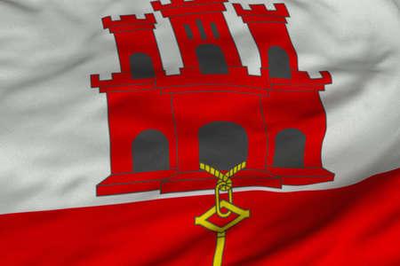 지브롤터의 국기의 상세한 3D 렌더링 근접 촬영. 플래그는 상세한 현실적인 패브릭 질감과 정확한 디자인과 색상을 가지고 있습니다.