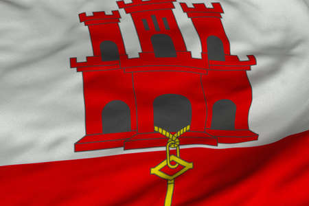 Detailed 3D rendering closeup of the flag of Gibraltar.  Flag has a detailed realistic fabric texture and an accurate design and colors. photo
