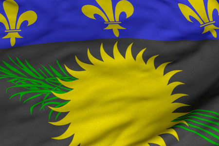 Detailed 3D rendering closeup of the flag of Guadeloupe.  Flag has a detailed realistic fabric texture and an accurate design and colors. photo