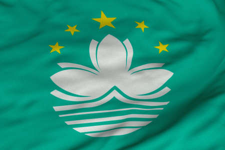 Detailed 3D rendering closeup of the flag of Macau.  Flag has a detailed realistic fabric texture and an accurate design and colors.
