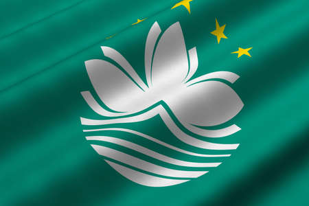 Detailed 3d rendering closeup of the flag of Macau.  Flag has a detailed realistic fabric texture.
