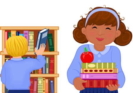 school girl uniform: Illustrazione dei bambini multirazziale gli studi presso la biblioteca della scuola. Vector EPS AI 8.