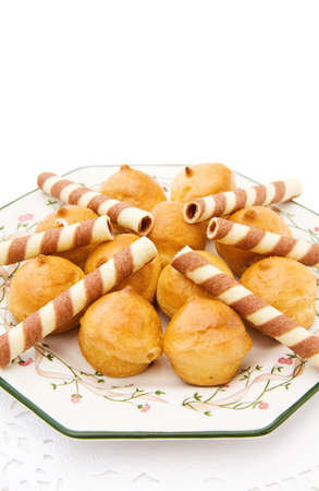 Profiteroles with chocolate waffles photo