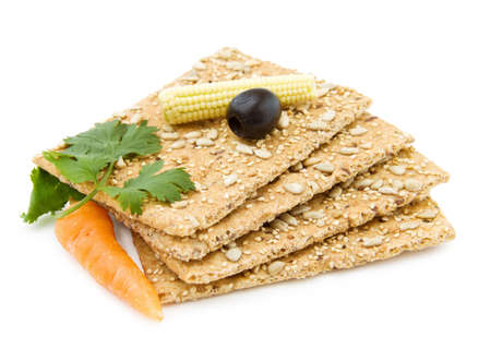 Healthy snacks - organic cheese crackers Stock Photo - 5424306