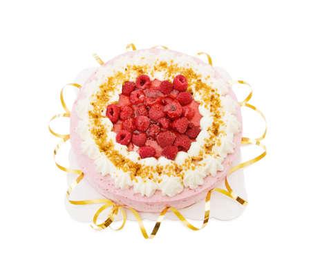 Festive raspberry cake Stock Photo - 5542732
