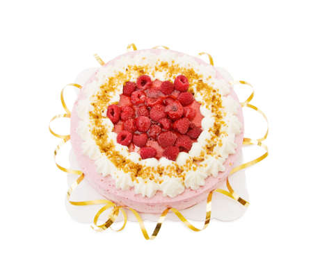 Festive raspberry cake Stock Photo - 5542732