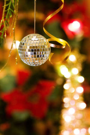 Christmas magic night with disco ball decoration photo