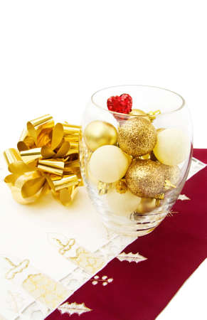 Love Christmas with golden baubles and sparkling heart photo