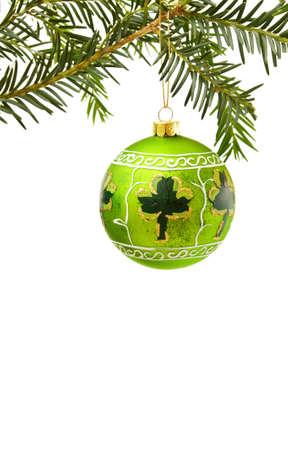 Irish Christmas border with shamrock and green bauble Stock Photo