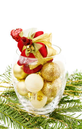 Love Christmas with pine tree and golden baubles photo