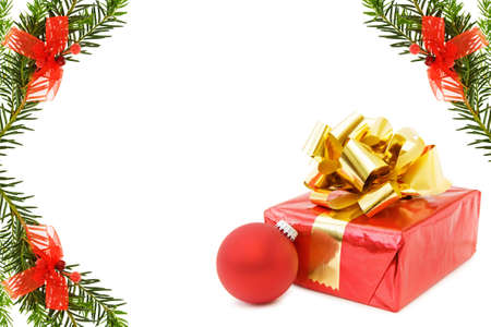 Christmas border with gifts and red bauble Stock Photo - 5863989