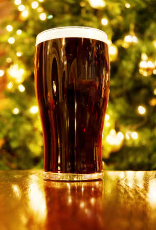 Irish Christmas with pint of black beer Stock Photo - 5918583