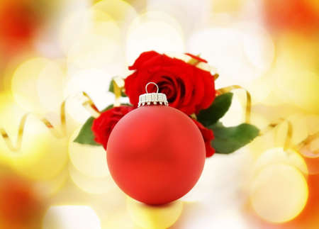 Christmas red bauble and roses Stock Photo - 5918585