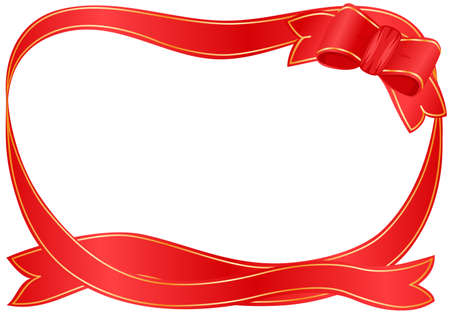 Vector Christmas festive border with red ribbon Stock Vector - 5998104