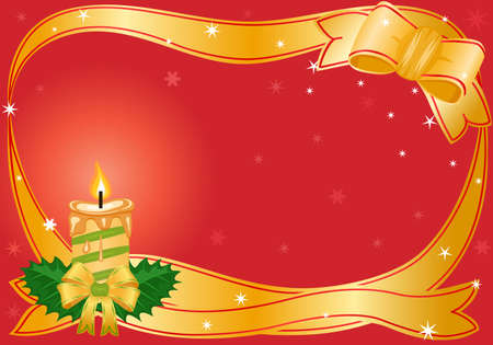 Vector Christmas festive card with golden candle Vector