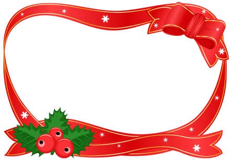 Vector Christmas border with holly.