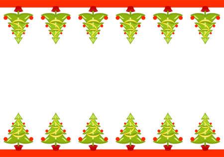 Vector Christmas seamless border with trees.