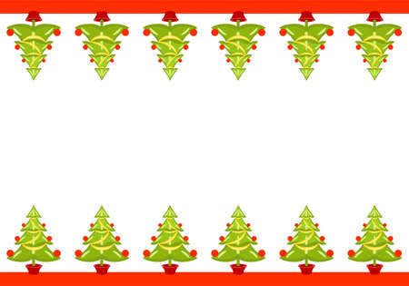 bauble: Vector Christmas seamless border with trees.  Illustration