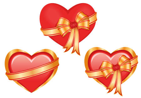 Vector set of three glossy hearts Vector