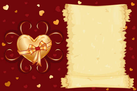 I love you card with golden heart  Vector