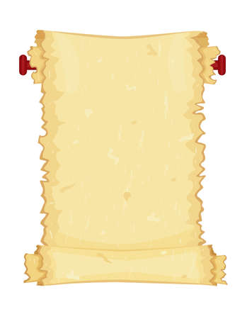 Old paper scroll with torn edges  Vector