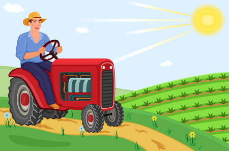 Happy farmer driving tractor on the fields Vector