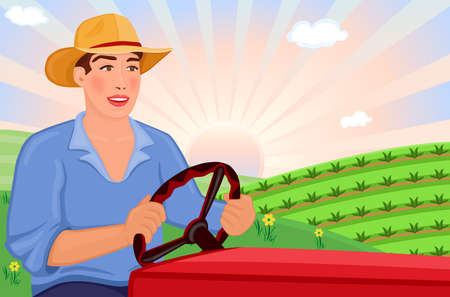 Farmer driving his tractor on the fields - vector EPS AI8 Vector