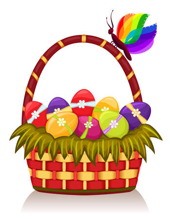 Easter basket with decorated eggs. Vector EPS AI8. Vector