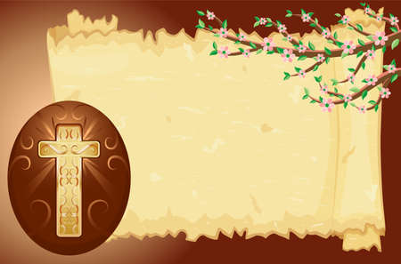 Easter card with Christian golden cross. EPS AI8 Stock Vector - 6517518