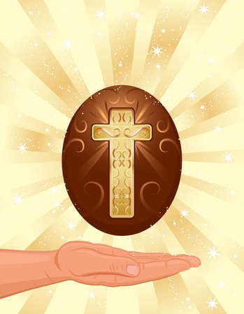Easter religious card with Christian cross - EPS AI8 Stock Vector - 6517514