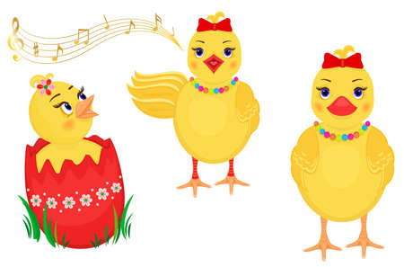 Easter design elements with three cute chicks.  Vector