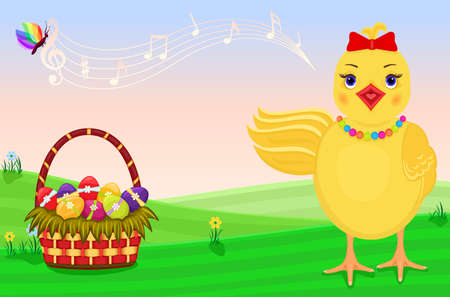 Cute chick singing for the celebration of Easter. Stock Vector - 6614063