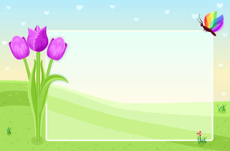 Blank greeting card with tulips Illustration