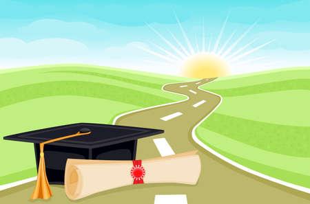 absolwent: Świętuje podziałka dzień z przyszłością naprzód.  Ilustracja