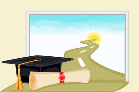 Graduation day the start to a bright future Vetores