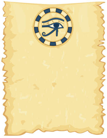 egyptian: Ancient Egyptian papyrus with The Eye of Horus.  Illustration