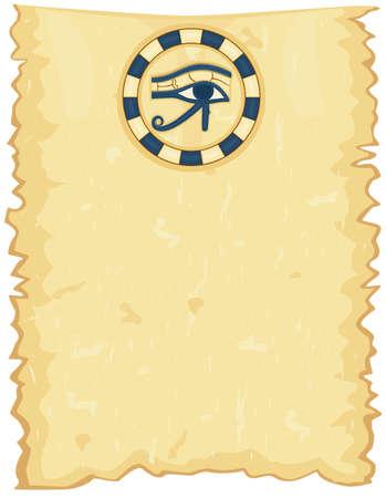 ojo de horus: Papiro egipcio antiguo con el ojo de Horus.