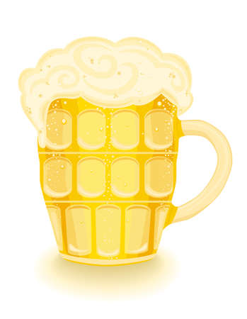 frothy: Frothy cold beer in a mug.