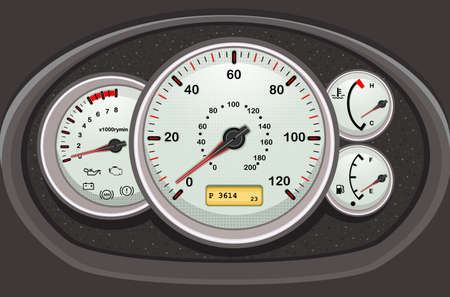 miles: Car dashboard and dials. Vector EPS AI8